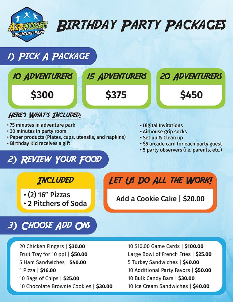 Birthday Party packages flyer